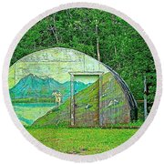 Our Lady Of The Way Quonset Hut Chapel In Haines Junction-yt Round Beach Towel