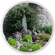 Our Lady Of The Woods Shrine Lll Round Beach Towel