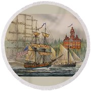Our Seafaring Heritage Round Beach Towel by James Williamson