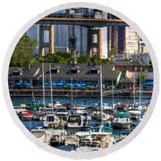 Out At The Harbor V3 Round Beach Towel