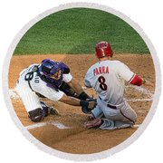Out At The Plate Round Beach Towel