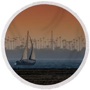 Out For A Sail 2 Round Beach Towel