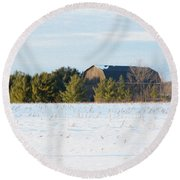Out In The Snow Round Beach Towel