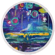 Out In The Universe Round Beach Towel