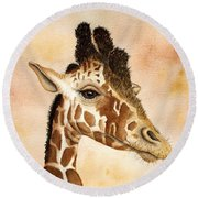 Out Of Africa's Giraffe Round Beach Towel