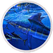 Out Of The Blue Round Beach Towel by Carey Chen