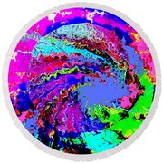 Out Of The Blue Wave Abstract Round Beach Towel
