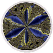 Out Of The Negative Into The Blue Flower Round Beach Towel