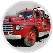 Out Of The Photo Fire Truck Round Beach Towel