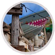 Out Of The Water - There's A Shark Round Beach Towel