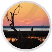 Ocean City Sunset Out On A Limb Round Beach Towel