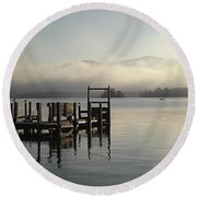 Out On The Lake Round Beach Towel