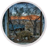 Out The Window Round Beach Towel