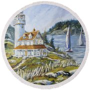 Out To Sea By Prankearts Round Beach Towel