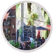Outdoor Cafe Philadelphia Pa Round Beach Towel