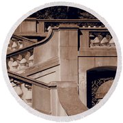 Outdoor Estate Stairway In Sepia Round Beach Towel