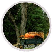 Outdoor Fall Halloween Decorations Round Beach Towel