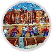 Outdoor Hockey Rink Winter Landscape Canadian Art Montreal Scenes Carole Spandau Round Beach Towel