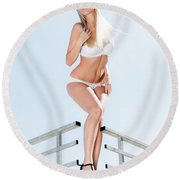 Outdoor Lingerie Portrait Round Beach Towel
