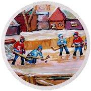 Outdoor Rink Hockey Game In The Village Hockey Art Canadian Landscape Scenes Carole Spandau Round Beach Towel