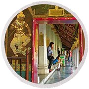 Outer Hall In Thai-khmer Pagoda At Grand Palace Of Thailand Round Beach Towel