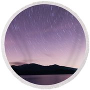 Outer Space Over Lake Santeetlah In Great Smoky Mountains In Sum Round Beach Towel