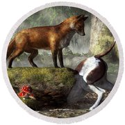 Outfoxed Round Beach Towel