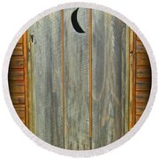 Outhouse Door Round Beach Towel