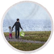 Outing In Autumn Round Beach Towel