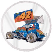Dirt Track Racing Outlaw 42 Round Beach Towel