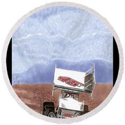Outlaw Race Car Round Beach Towel