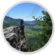 Outlook From The Ridge Round Beach Towel