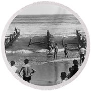 Outrigger Canoe Championship Round Beach Towel