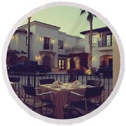 Outside Dining Round Beach Towel by Laurie Search