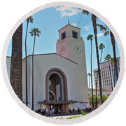 Outside Los Angeles Union Station Round Beach Towel