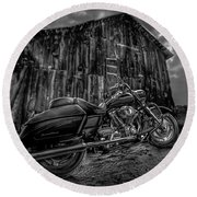 Outside The Barn Bw Round Beach Towel