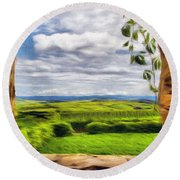 Outside The Fortress Wall Round Beach Towel by Jeff Kolker