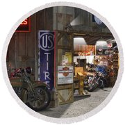 Outside The Motorcycle Shop Round Beach Towel
