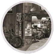 Outside The Old Motorcycle Shop - Spia Round Beach Towel