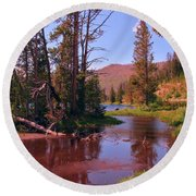 Outstanding Yellowstone National Park Round Beach Towel by John Malone
