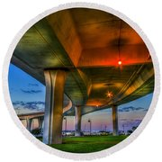 Over And Beyond Round Beach Towel