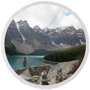 Moraine Lake Lookout - Lake Louise, Alberta Round Beach Towel