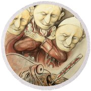 Over-pope-ulation - Cartoon Art Round Beach Towel