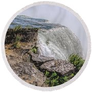Over The Edge Niagara Falls Round Beach Towel