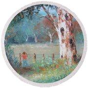 Over The Fence By Jan Matson Round Beach Towel