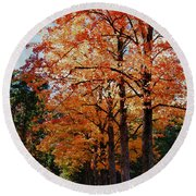Over The Hill And Through The Trees Round Beach Towel