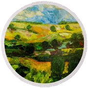 Over The Hills Round Beach Towel