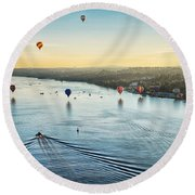 Over The Hudson Round Beach Towel