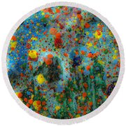 Over The Mountain Round Beach Towel