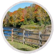 Over The River And Into The Through The Woods  Round Beach Towel